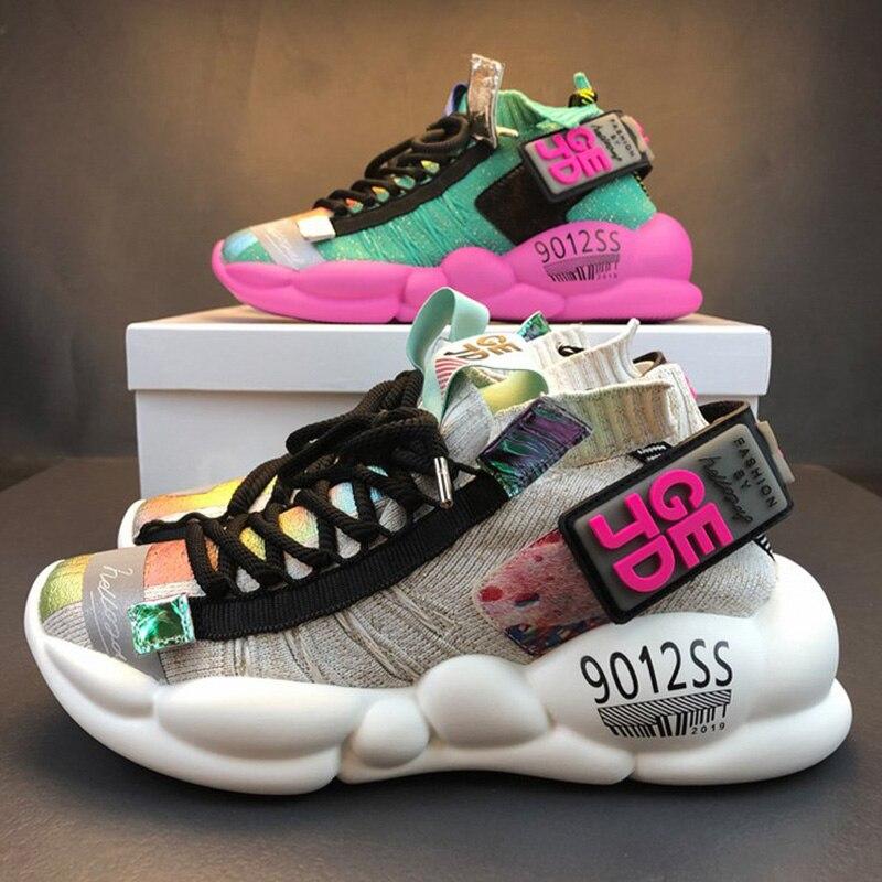 Для женщин на не сужающемся книзу массивном; кроссовки на высокой платформе 5 см, изящная женская обувь на толстой подошве, Повседневное обувь с подошвой из вулканизированной резины знаменитости папа женские модные кроссовки; Дизайнерская обувь