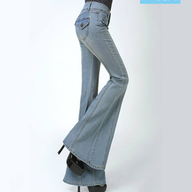 Mulheres Plus Size Alta Cintura Fina Perna Queimado Calça Jeans Bootcut Calças  Fundo Sino Feminino Ladies f221ccfcd3
