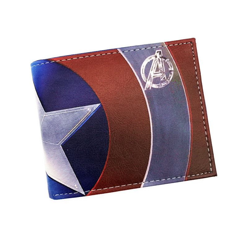 Free Shipping Anime Captain America Purse Logo Credit Oyster License card Holder Cartoon Wallet comics marvel super hero wallets leather card holder bags purse anime cartoon deadpool captain america gift kids short wallet