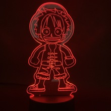 3d Led Night Light Lamp for Child Birthday Gift Kids Bedroom Deco Nightlight Japanese Anime One Piece Cute Monkey D Luffy Figure dandelion unicorn 3d led nightlight wood base with music box dimming remoting switch little girl gift bedroom deco lamp iy804015