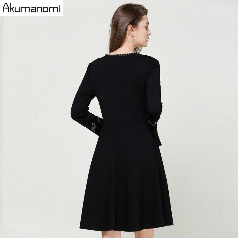 eb3ebd4651cd Xl M Flare 2xl Robe A Dentelle 5xl Pleine Noir ligne 4xl Printemps Taille  Vêtements Plus Manches Automne La L V ...