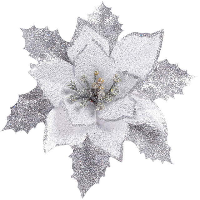 Online shop cheap17cm artificial flowers for christmas tree cheap17cm artificial flowers for christmas tree ornaments new year christmas wedding decoration goldredsilver fake flowers mightylinksfo