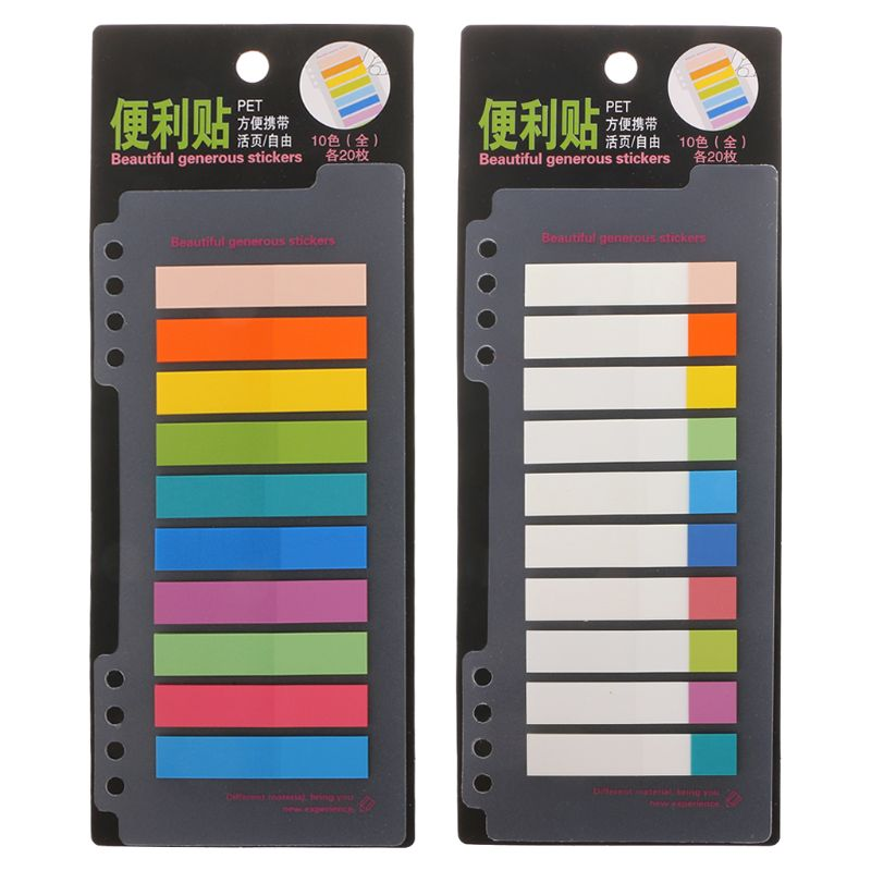 10 Colors PET 200 Sheets Index Tabs Flags Sticky Note Page Marker Stickers Stationery Office School Suppies
