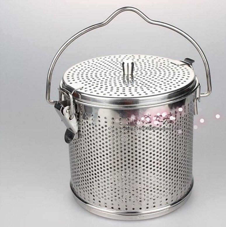 Cuisine outil de cuisson 304 en acier inoxydable 0.5l 10 cm * 10 cm panier halogène seau à soupe sac de médecine de pot Chaud boîte à soupe