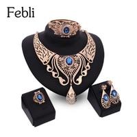 Febli Indian Wedding Sieraden Luxe Jewlery Sets Voor Vrouwen Parure Bijoux Blauw Rood Beige Goud Kleur Set Sieraden