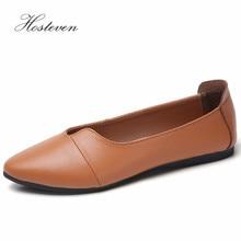 Hosteven Women Shoes Casual Sneaker Flats Genuine Leather Loafers Oxfords Shoe Flexible Peas Footwear Large Size