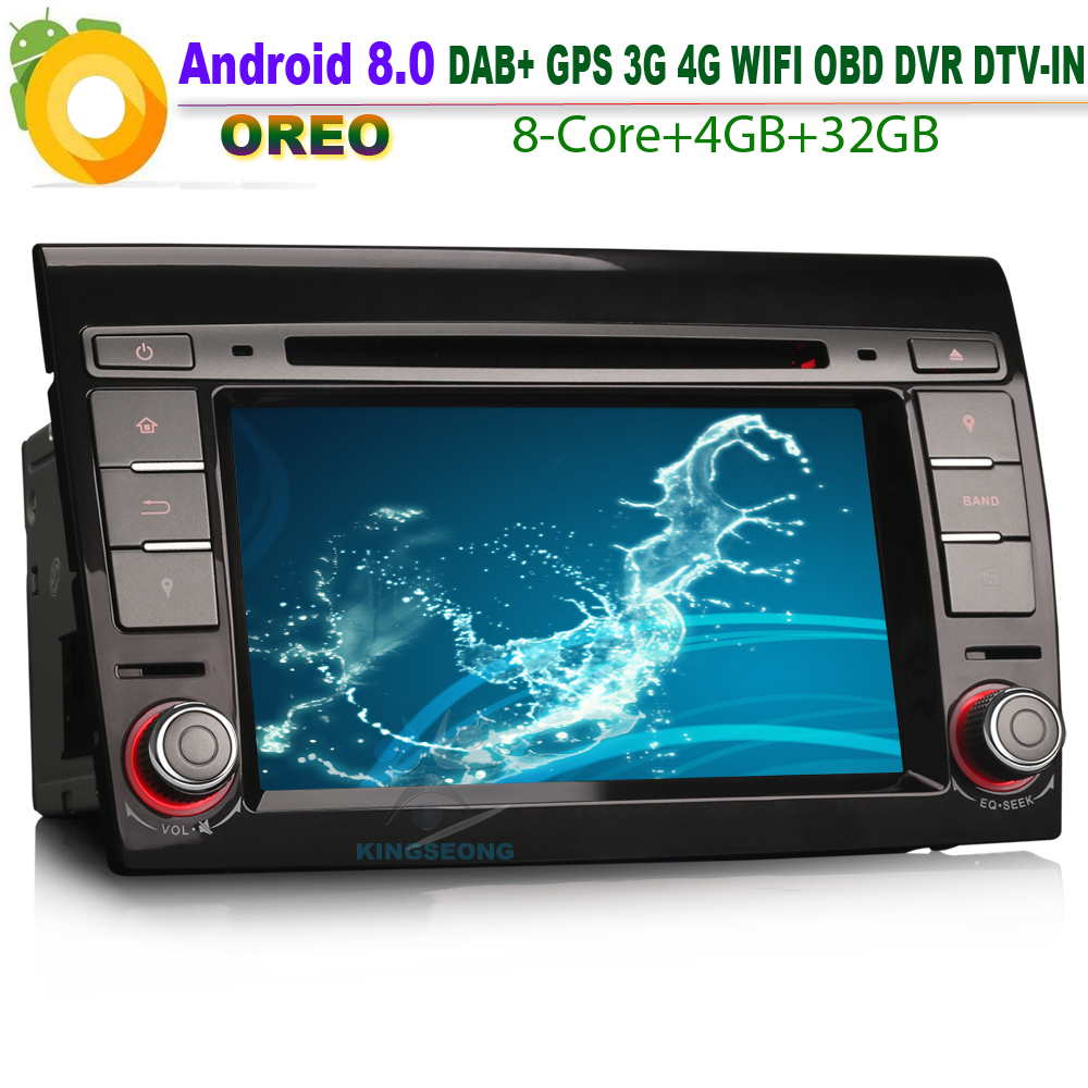 8 Core Android 8.0 Autoradio DAB+ for FIAT BRAVO Car DVD player WiFi 4G GPS CD TPMS DVR Canbus Bluetooth SatNav OBD SD Radio USB
