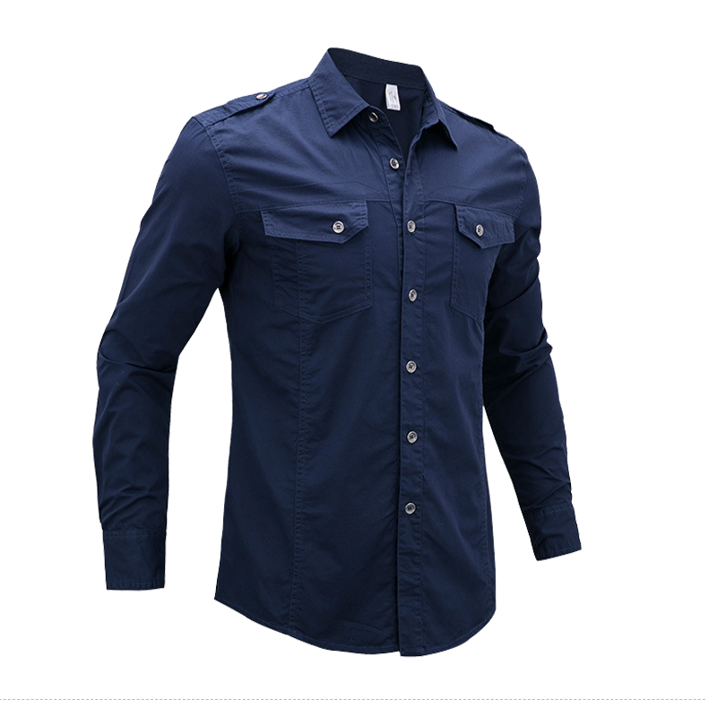 Plus Size 4XL 5XL Military Style Air Force Men Casual Shirts Autumn Cotton Pilot Army Tactical Shirt Fashion Male Long Sleeve