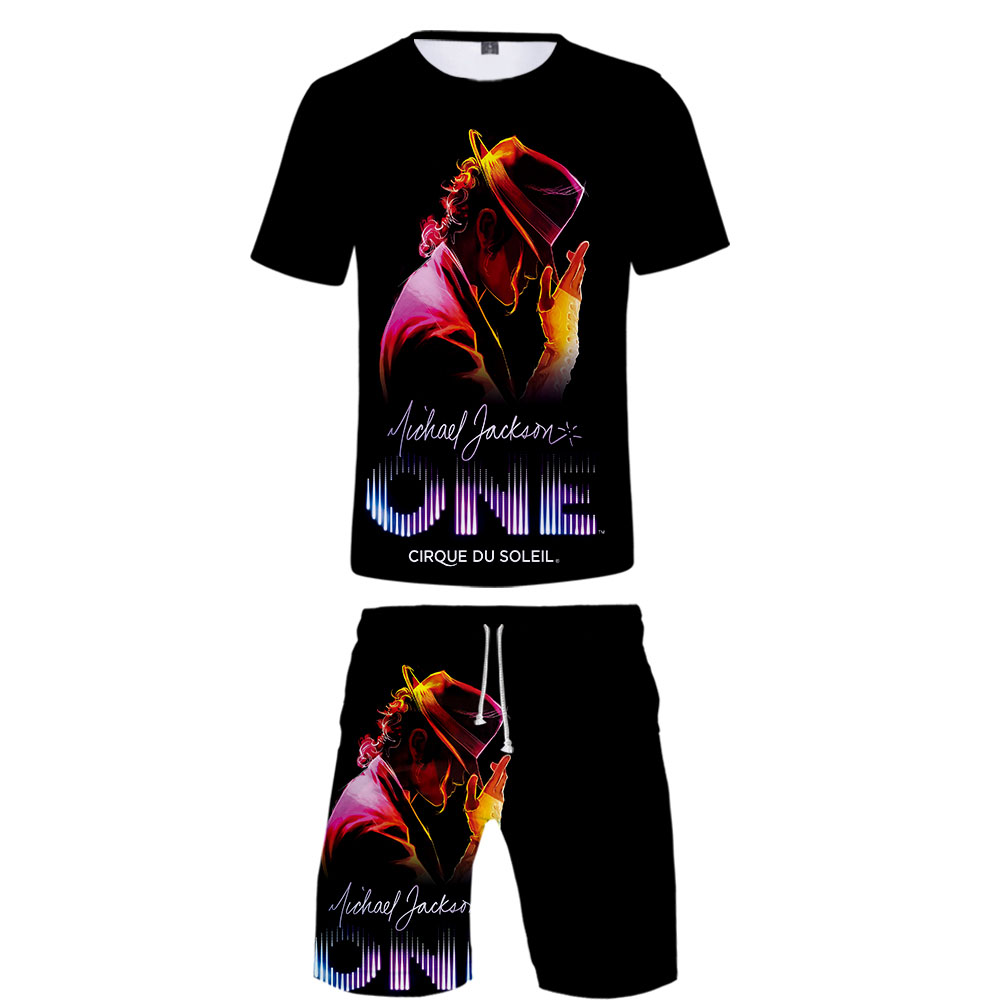 Two Piece Set Michael Joseph Jackson 3D Printing Casual Short Sleeve Tshirt Men Shorts Set  Hiphop Kpops T Shirt Beah Shorts Men