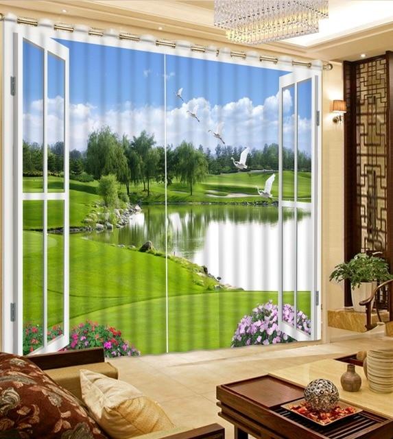 mooie foto 3d gordijnen custom gordijnen lake natuurlijke landschap buiten het raam fashion home decor 3d