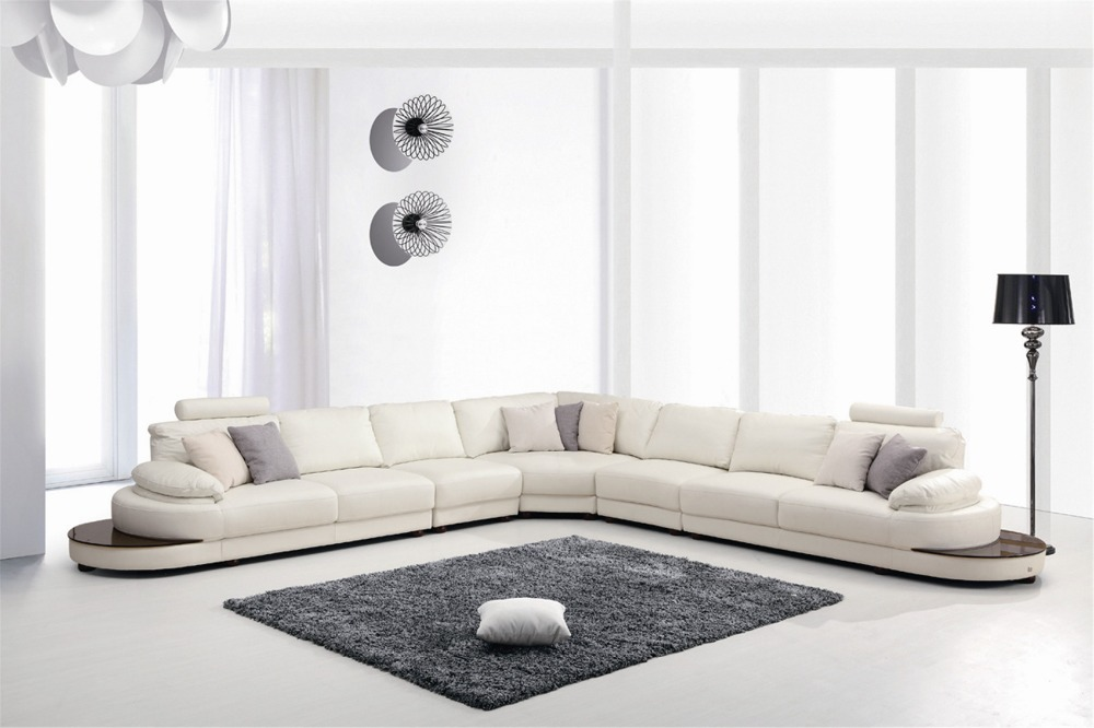 954 Contemporary White Italian Leather Sectional Sofa Www