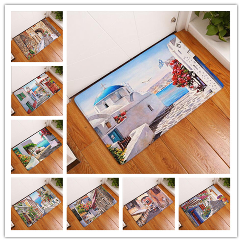 New Seaside Town Printed Mat Anti-Slip Decor Doormat Foot Pad Bathroom  Kitchen Hallway Carpets Floor Mat For Living Room 40 60cm ff9f1776d29c
