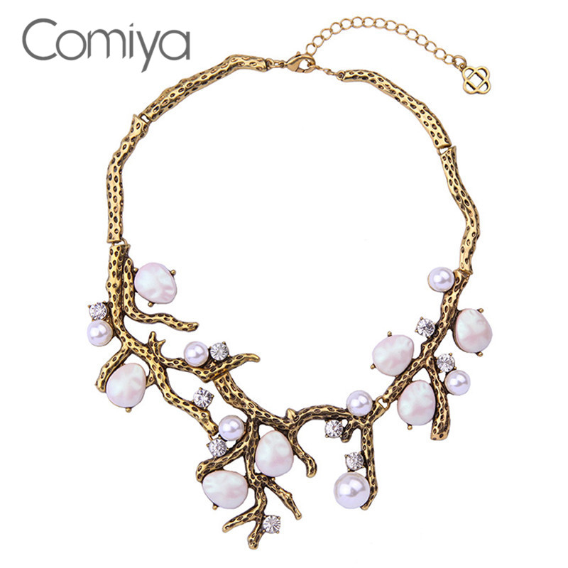Comiya Vintage Flower Collar Imitation Pearl Necklace Filled Shourouk Snake Link Fashion Jewelry Women Accessories Ethnic