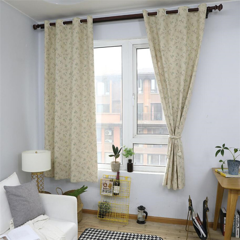 Flower Nordic Style Linen Cotton Blackout Curtains For Living Room