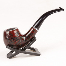 1Pc Wooden Pipe With Beautiful Carve Patterns Length 14.5CM With Box Wholesale Top Quality Smoking Tobacco Herb Pipe