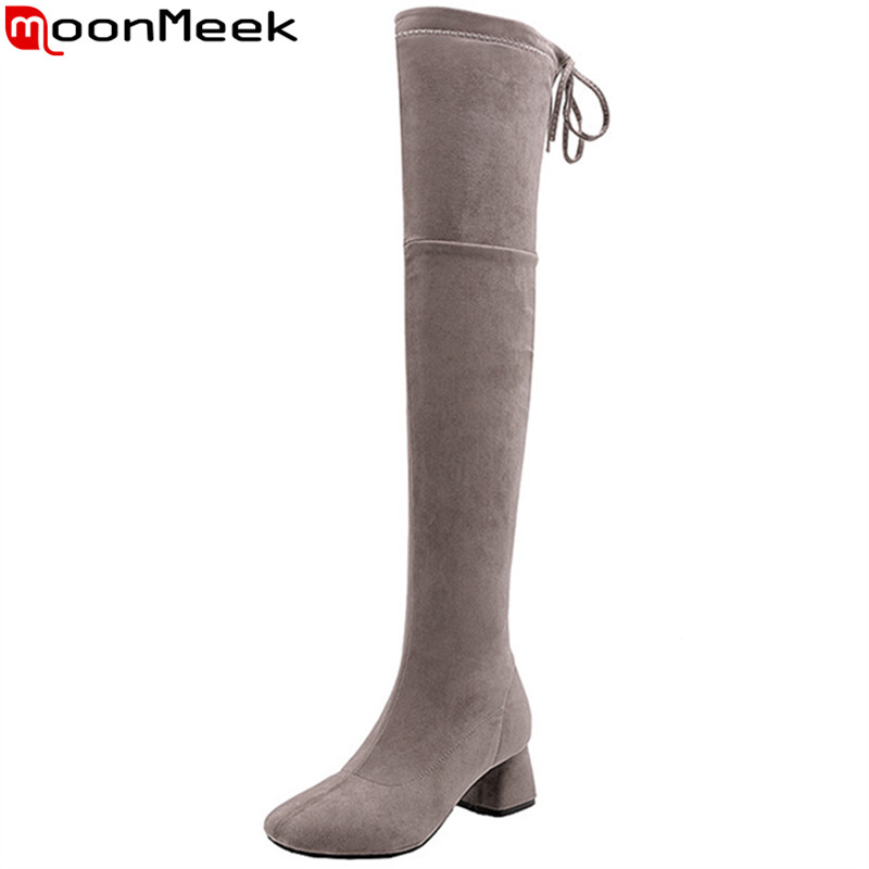 MoonMeek plus size fashion over the knee high boots women square toe flock high heels shoes