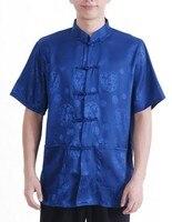 Blue Chinese Tradition Men S Kung Fu Shirt Top Summer S M L XL XXL XXXL