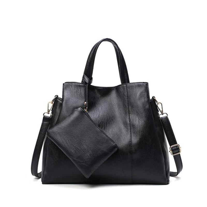 ФОТО Causal Women Bag Leather Handbag With Zipper Pouch Ladies Large Capacity Bucket Cross Body Shoulder Bags 2017