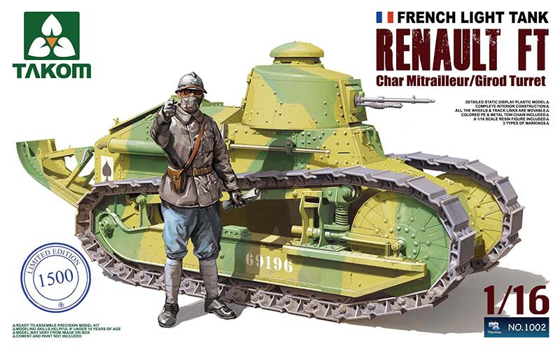 Takom Model #1002 1/16 French Light Tank Renault FT Char Mitrailleur With Girod Turret