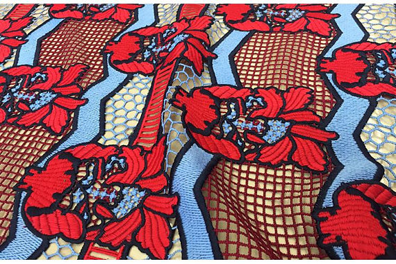 Tissu de dentelle brodé lourd de 5 mètres tissu de dentelle de luxe broderie maille tulle haute couture