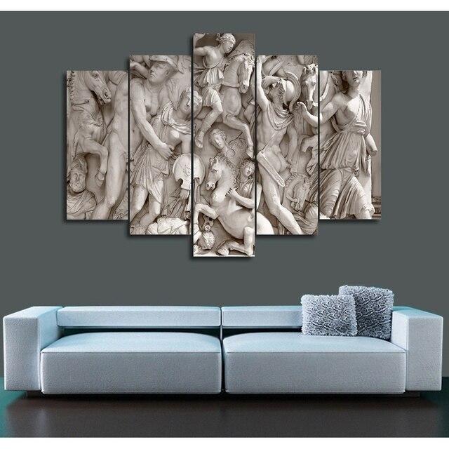 livraison gratuite 2017 chaude sans cadre peinture romain relief mur de toile art 5 panneau pour. Black Bedroom Furniture Sets. Home Design Ideas