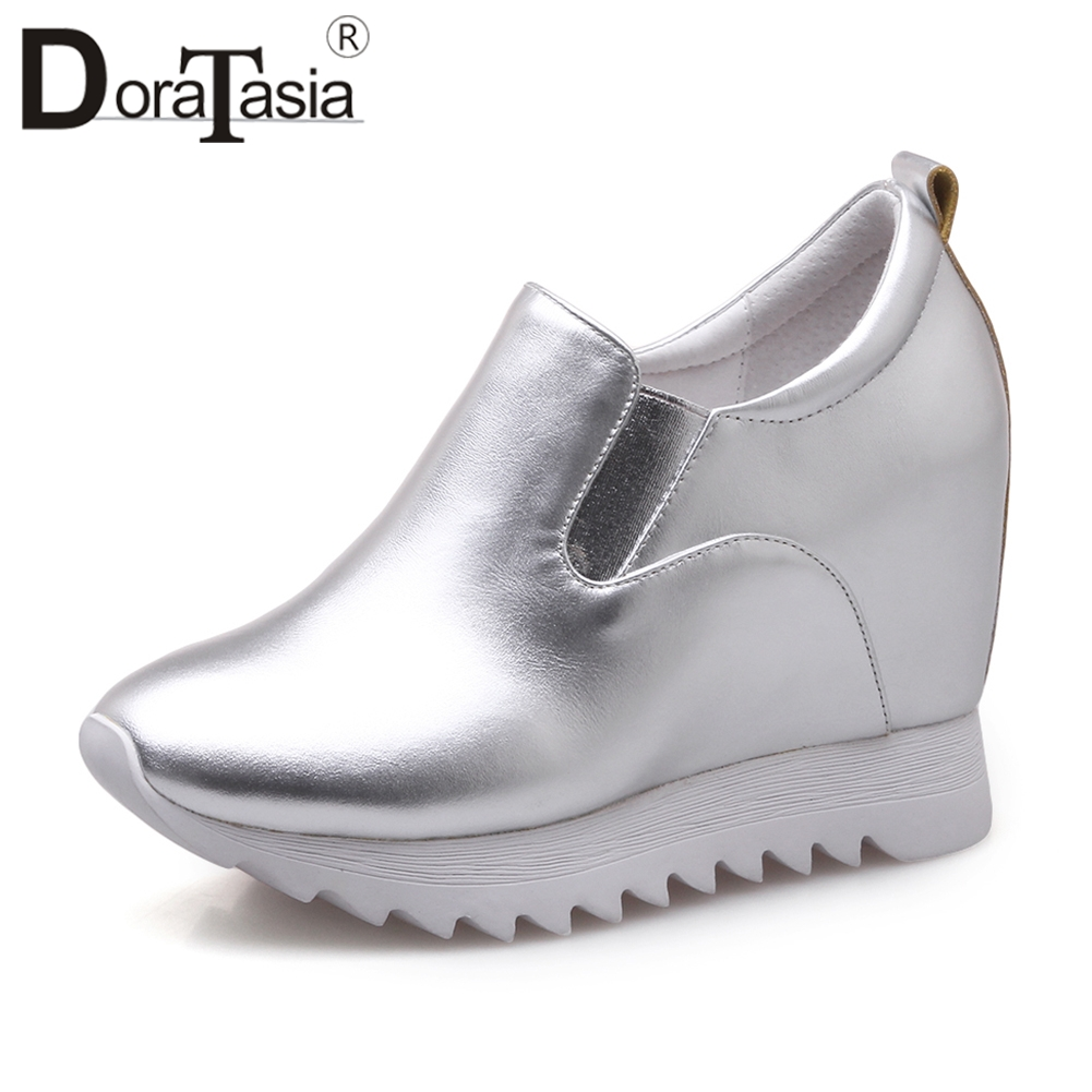 DORATASIA 2019 Autumn New Sneakers Women Genuine Leather Platform Loafers Women Elegant Shoes Woman Height Increasing