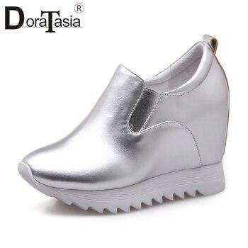 DORATASIA 2020 Autumn New Sneakers Women Genuine Leather Platform Loafers Women Elegant Shoes Woman Height Increasing 32-40