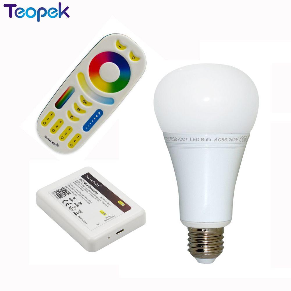 Mi.Light 2.4G 12W RGB+CCT Wireless E27 LED Bulb Dimmable 2 in 1 Smart LED Light FUT105 + 4-Zone 2.4G RF Remote + Wifi iBox2