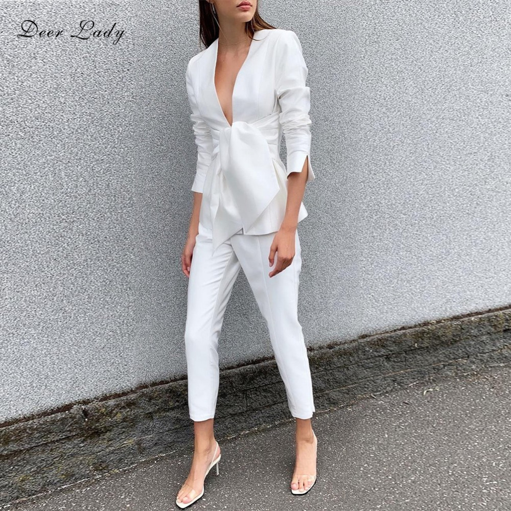Deer Lady Women 2 Piece Set Top And Pants 2019 Summer Party white Long Sleeve Suit
