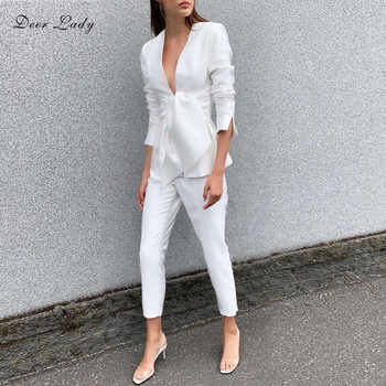 Deer Lady Women 2 Piece Set Top And Pants 2019 Summer Party white Long Sleeve Suit Office Sexy High Waist Pants Set Club - DISCOUNT ITEM  31% OFF All Category