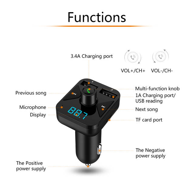 US $7 81 45% OFF|KORSEED USB Charger Wireless Bluetooth Car Kit FM  Transmitter modulator Handsfree Carkit Audio Radio Music Mp3 Player for  Phone-in