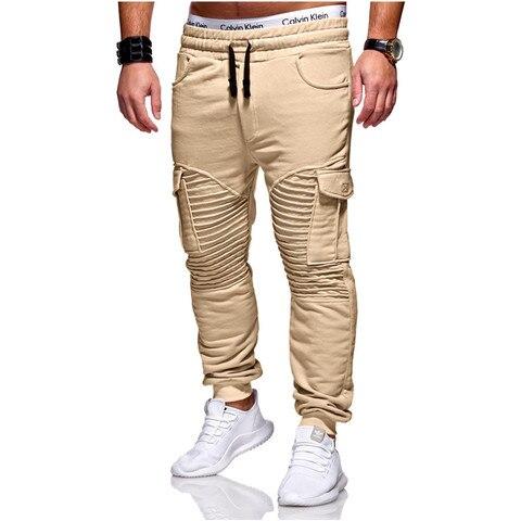 Calças de Suor Calças de Fitness Homens Joggers Calças Casuais Vestuário Outono Inverno Novo Masculino Plissado Muitos Multi-bolso