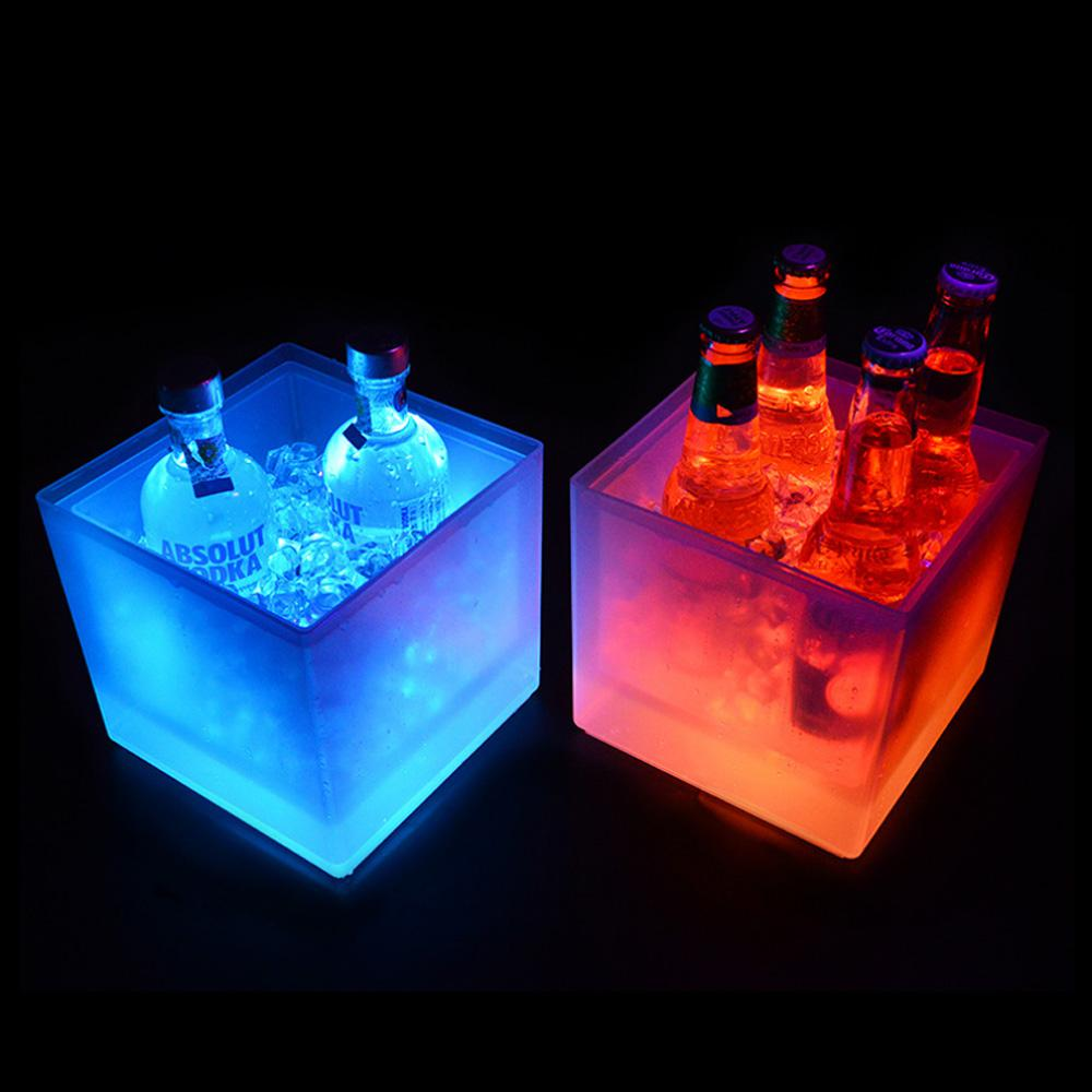 LED Ice Bucket RGB Color Double Layer Square Bar Beer Changing Durable Wine 3.5 L For
