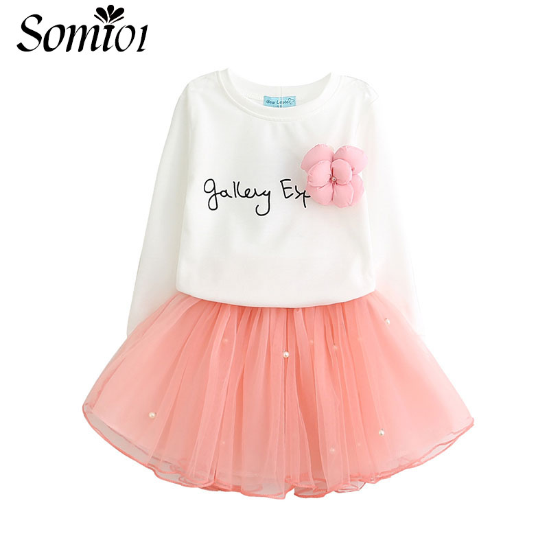 Lovely Toddler Girls White Tees Shirt + Pink Skirt with Rhinestone Clothes Sets Kids Girl Spring Autumn Children Clothing Suits