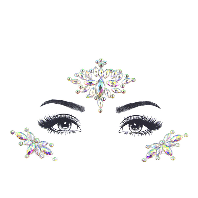Face jewels sticker Make Up Adhesive Temporary Tattoo  Body Art Gems Rhinestone Stickers for  Festival Party 2