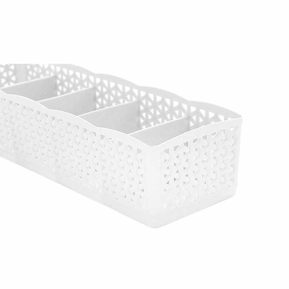5 Sel Plastik Kotak Penyimpanan Organizer Dasi Bra Kaus Kaki Laci Kosmetik Pembagi Kualitas Tinggi Rumah Tangga Wadah Penyelenggara D4