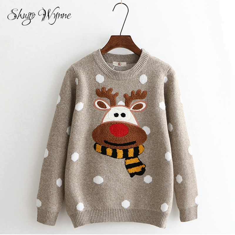 Shugo Wynne Knit Sweater 2018 Autumn New Women Sweet O-neck Long Sleeve Christmas Deer Pattern Patch Warm Knitted Sweater Tops