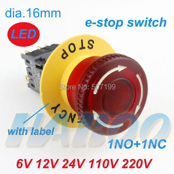 HABOO A16mm series emergency stop switch with led red mushroom head 1NO+1NC with label or no 24V 110V 220V