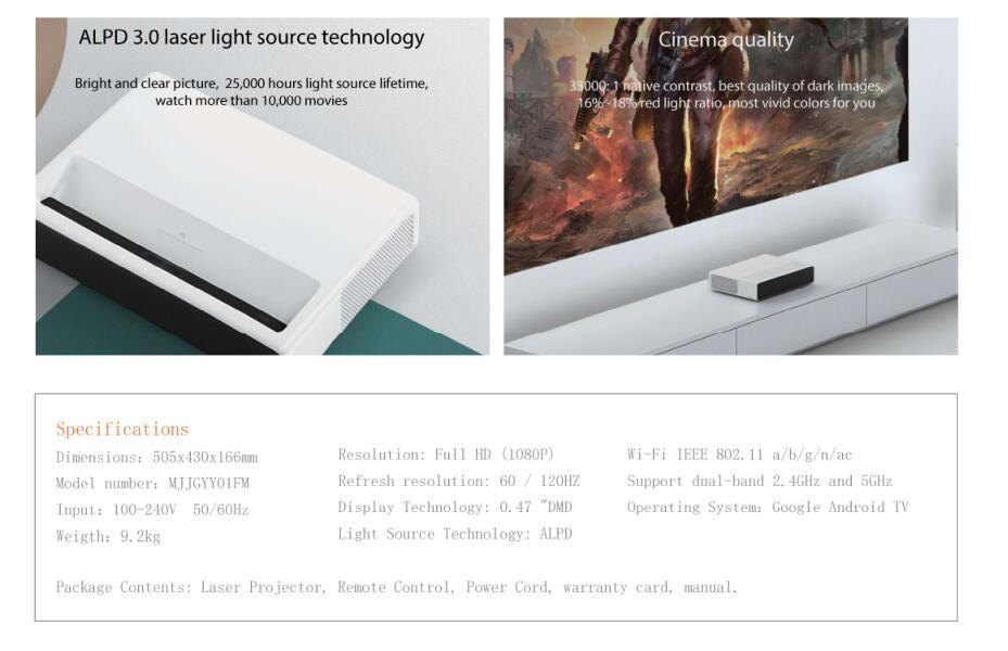 US $1698 73 25% OFF Original Xiaomi Mijia Laser Projection TV 150