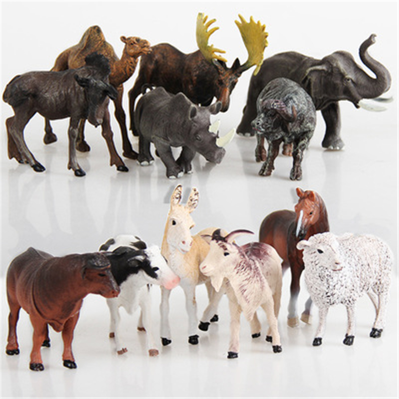 лучшая цена 6 or 12pcs/set of plastic wild jungle zoo animal figure big forest ranch set children's toys cute animal set gift