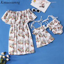 Mommy and me clothes Baby girl Clothes 2019 Off Shoulder Print Mini Dress Mom Daughter C0440