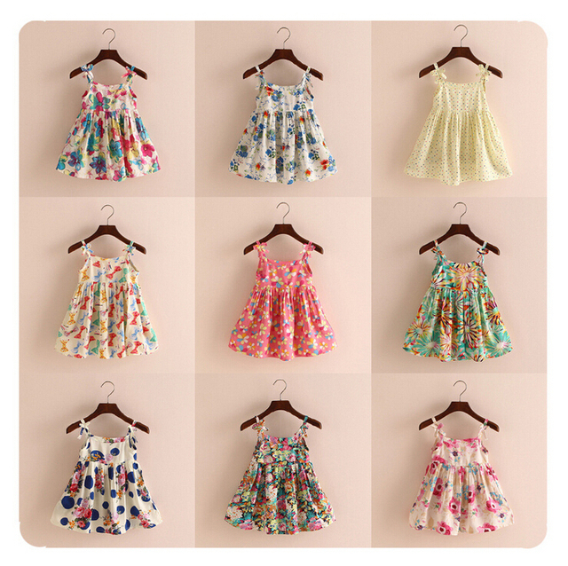 2017 New Grils Dress 18 Types Size 12m 4t Baby Summer Bow Sundresses Flowers