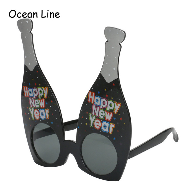 Funny Happy New Year Champagne Shaped Glasses Novelty Sunglasses For ...