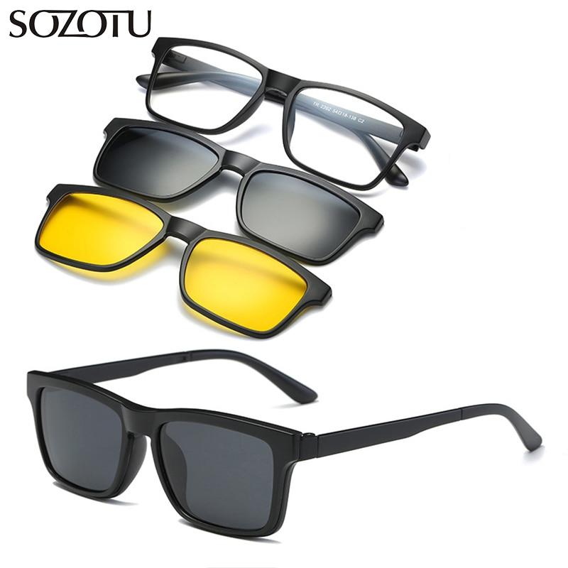 Bekleidung Zubehör Brillenrahmen DemüTigen Optische Brillen Rahmen Männer Frauen Mit 2 Clip Auf Magneten Polarisierte Sonnenbrille Klar Brille Spektakel Rahmen Für Männliche Yq335
