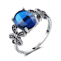 2018 new genuine 925 Sterling silver natural stone blue corundum green Chalcedony rings Fashion Butterfly Rings lovers cute gift