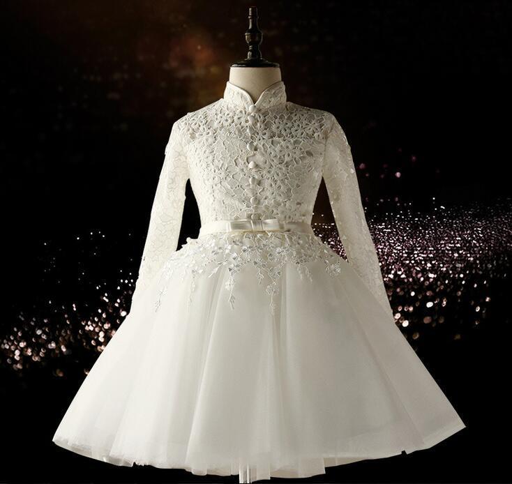 Vestidos De Daminha Girls White Wedding Dress Tulle Lace Ball Gown Long Sleeve Flower Girl Dresses Kids Birthday Party Dresses цены онлайн