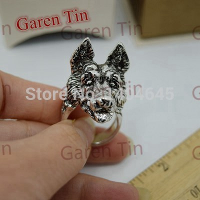 1 Pcs Unique Mens Jewelry Big German Shepherd Dog Ring Handmade