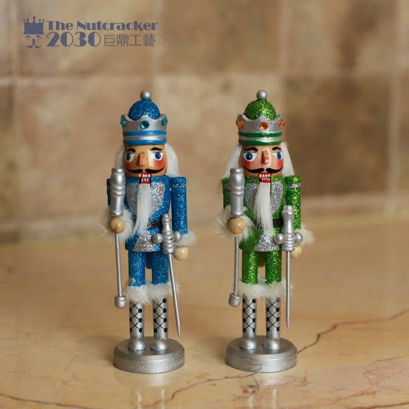 Neue 18 cm Hoch Weihnachten Urlaub Nussknacker Grün Blau Ritter Menschen Vintage Deutschen Holz Tisch Nussbaum Spielzeug Zakka Puppen