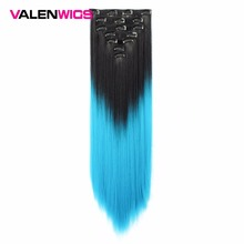 Valen Wigs Straight 7pcs/set Clip In on Hair Extensions Synthetic Women Piece Natural Ombre Hairpieces Heat Resistant