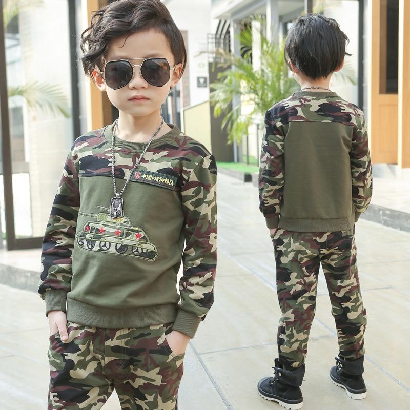 Children Camouflage Clothing Sets 2017 Fall Boys Fashion Cotton Military Uniform Kids Sport Suit Boys Sweatshirts + Pants 13 14